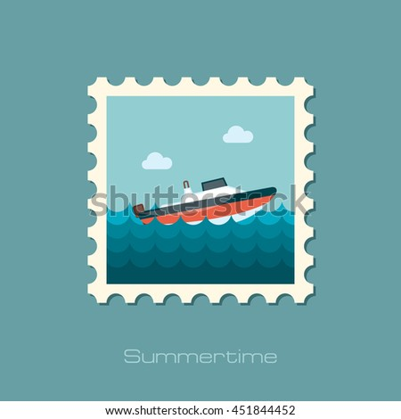 Speed boat vector stamp. Travel. Summer. Summertime. Holiday. Vacation, eps 10 - stock vector