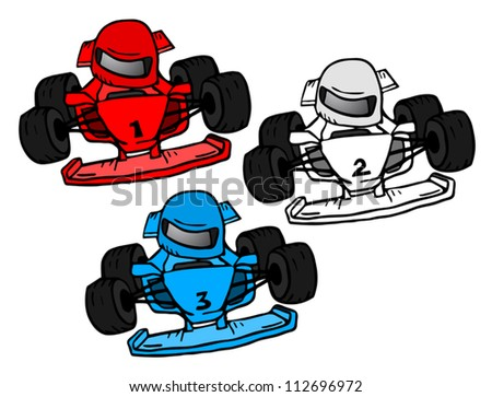 Speed cartoon cars - stock vector