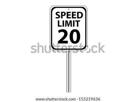 Speed Limit Traffic Road Sign on White. Vector - stock vector