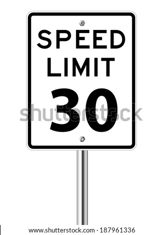 Speed limit 30 traffic sign on white - stock vector