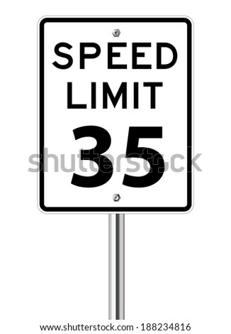 Speed limit 35 traffic sign on white - stock vector