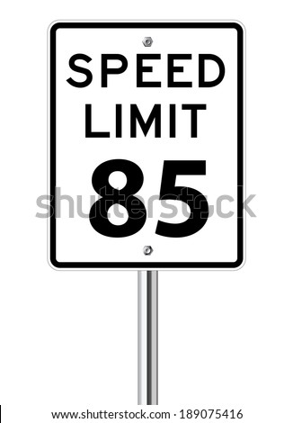 Speed limit 85 traffic sign on white - stock vector