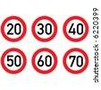 Speed limitation road sign set. - stock vector