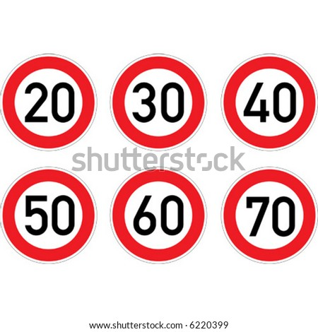 Speed limitation road sign set. - stock vector