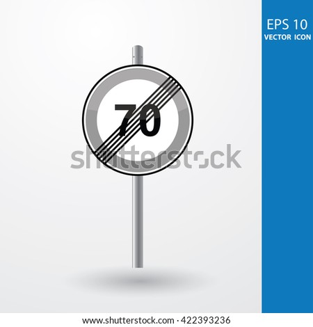 Speed Limits 70 kilometers per hour - stock vector