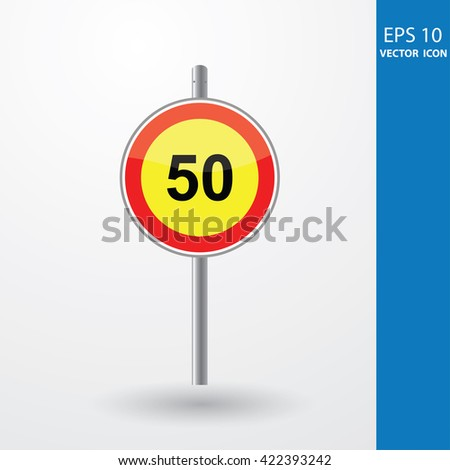 Speed Limits 50 kilometers per hour - stock vector