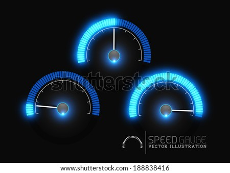 Speed, power and / or fuel gauge meter stages. Vector illustration - stock vector