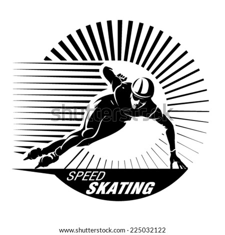 Speed skating. Vector illustration in the engraving style - stock vector