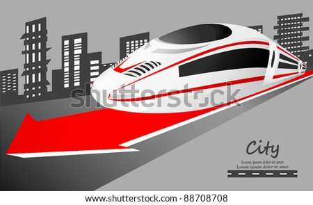 Speed train leaving the city. VECTOR - stock vector