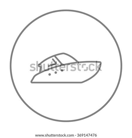 Speedboat line icon. - stock vector