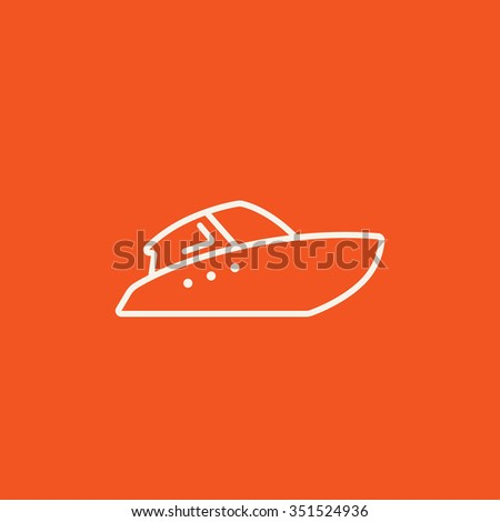 Speedboat line icon for web, mobile and infographics. Vector white icon isolated on red background. - stock vector