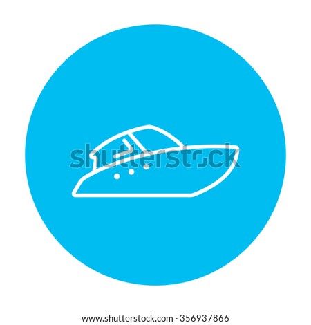 Speedboat line icon for web, mobile and infographics. Vector white icon on the light blue circle isolated on white background. - stock vector