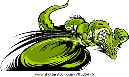 Speeding Alligator or Crocodile Running with hands Mascot  Vector Illustration - stock vector