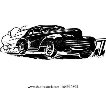 Speeding Car - Retro Clipart Illustration