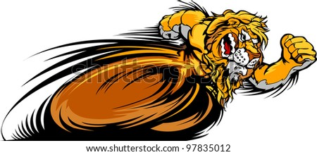 Speeding Lion Running with hands Mascot  Vector Illustration