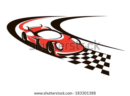 Speeding Racing Car Logo Crossing Finish Stock Photo Photo Vector