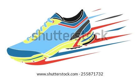 Speeding running shoe - stock vector