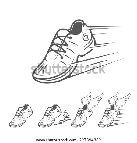 Speeding running shoe icons in five variations with a trainer, sneaker or sports shoe with speed and motion trails, vector isolated silhouette logo element on white - stock vector