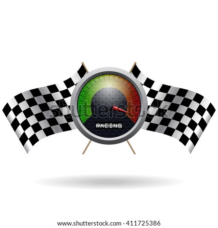Speedo and two crossed checkered flags. Vector speedometer and vector checkered flag. Vector crossed checkered flags. Isolated on white. - stock vector