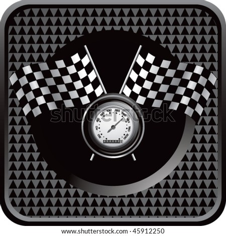 speedometer and checkered flags on black checkered web button