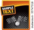 speedometer and checkered flags on orange and black halftone advertisement - stock photo