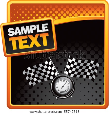 speedometer and checkered flags on orange and black halftone advertisement - stock vector