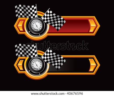 speedometer and checkered flags on red and black arrows - stock vector