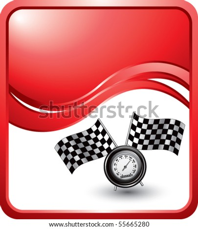speedometer and checkered flags on red wave background - stock vector