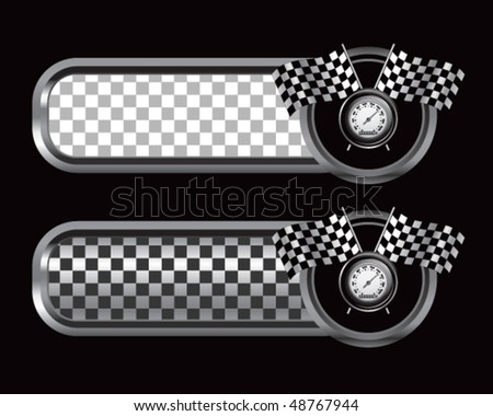 speedometer and checkered flags on silver and black checkered tabs - stock vector