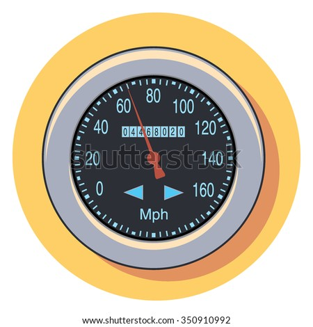 speedometer circle icon with shadow - stock vector