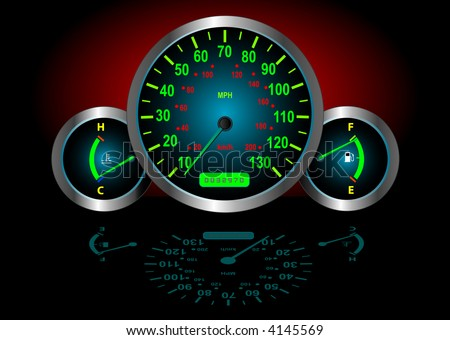 Speedometer / Fuel / Temperature Guages (Vector image fully resizable and editable) - stock vector