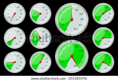 Speedometer green graphic showing progress towards goal on black, vector, 10eps. - stock vector