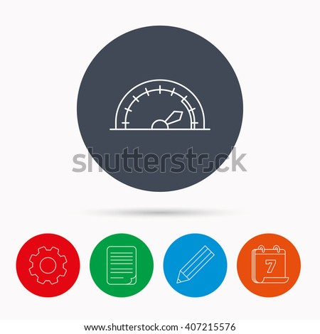 Speedometer icon. Speed tachometer with arrow sign. Calendar, cogwheel, document file and pencil icons. - stock vector