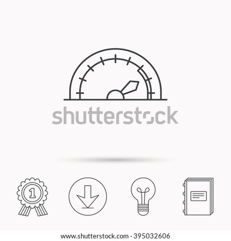 Speedometer icon. Speed tachometer with arrow sign. Download arrow, lamp, learn book and award medal icons. - stock vector