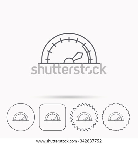 Speedometer icon. Speed tachometer with arrow sign. Linear circle, square and star buttons with icons. - stock vector