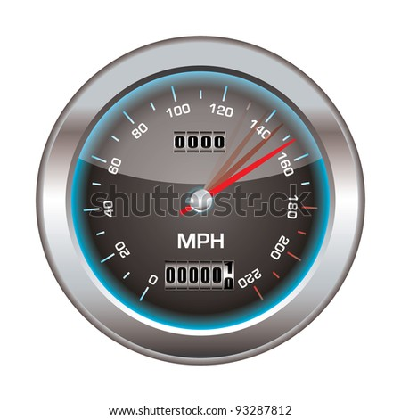 Speedometer icon with silver bevel and light reflection