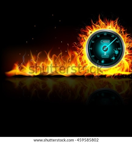 Speedometer in fire on black background .Vector