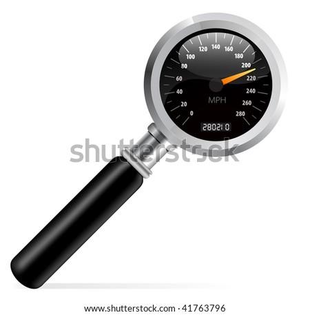 Speedometer in magnifier vector illustration - stock vector