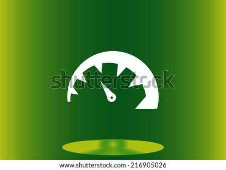 speedometer on a green background - stock vector
