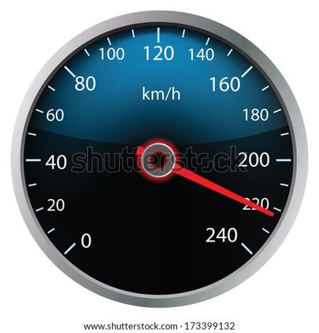 Speedometer on white background (vector illustration) - stock vector