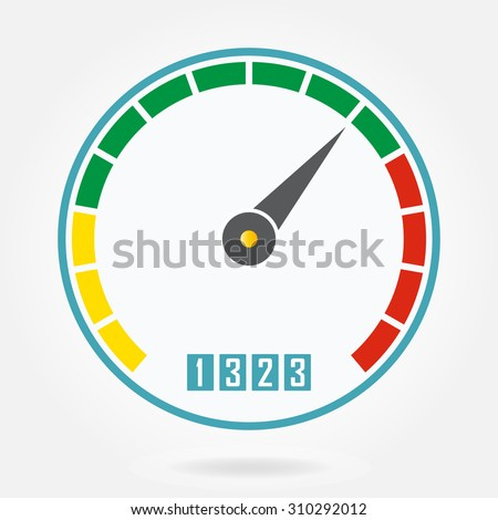 Speedometer or tachometer icon with arrow. Infographic gauge element. Template for download or upload design. Colorful vector illustration in flat style. - stock vector