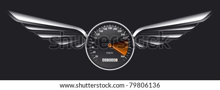 speedometer shield with glossy wings - stock vector