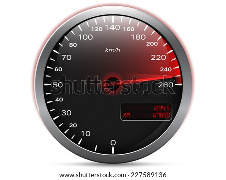 Speedometer showing maximum speed with needle in red, with metal frame and analogue - digital display, isolated on white - stock vector