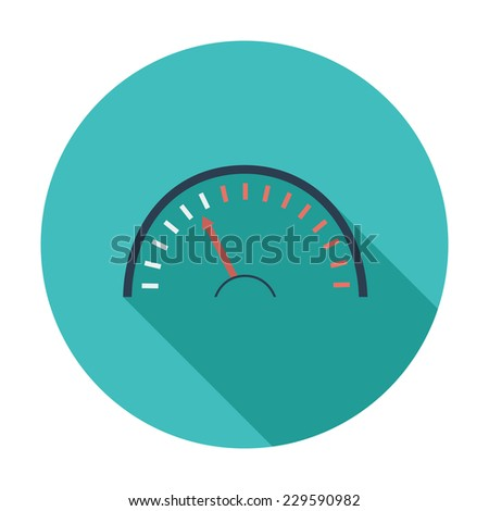 Speedometer. Single flat color icon. Vector illustration. - stock vector