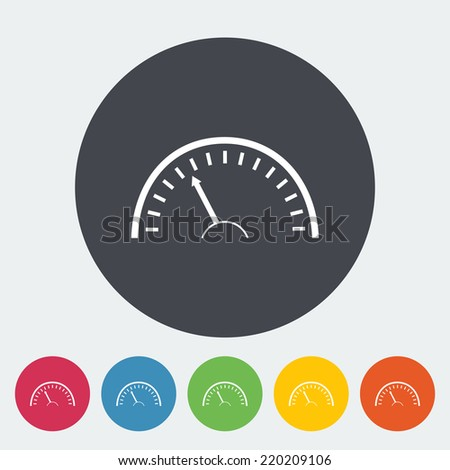 Speedometer. Single flat icon on the circle. Vector illustration. - stock vector