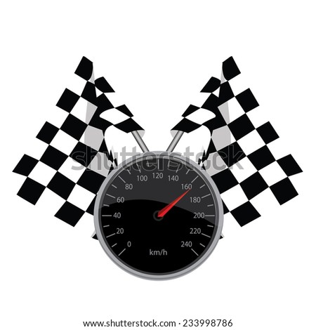 Speedometer, start flags finish flags, crossed flags, vector, isolated on white - stock vector