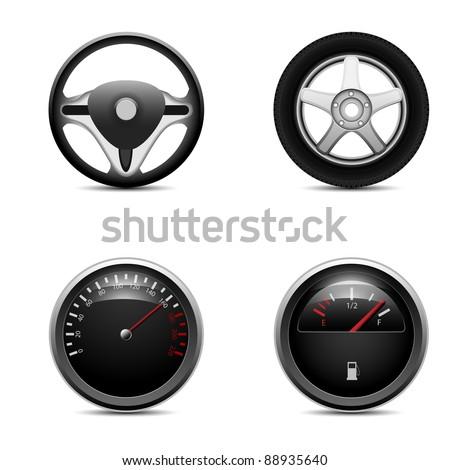 Speedometer, steering wheel,  car wheel and fuel level, vector - stock vector