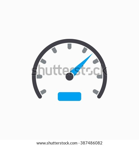 Speedometer   vector icon. Illustration isolated on white  background for graphic and web design.