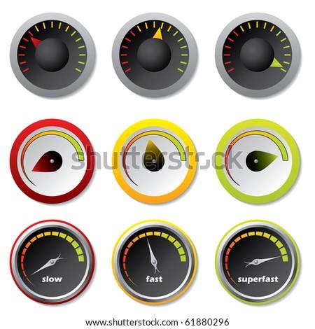Speedometers for downloads - stock vector