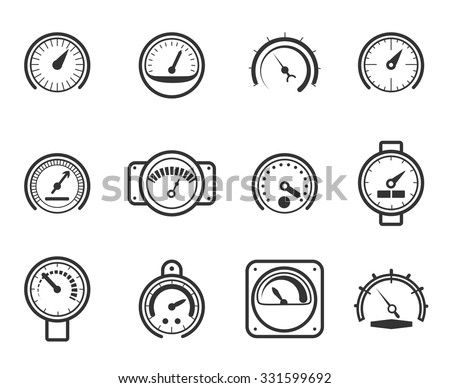 Speedometers, manometers, tachometers and barometers in linear design style. Vector meter icons set. Indicator and measurement, meter and power, level gauge illustration - stock vector